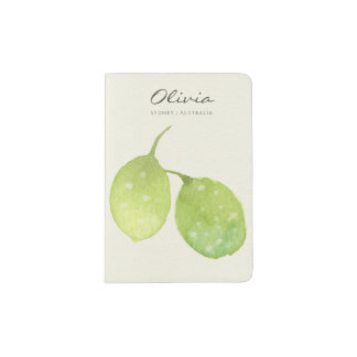 TROPICAL GREEN WATERCOLOUR FOLIAGE LEAF  MONOGRAM PASSPORT HOLDER