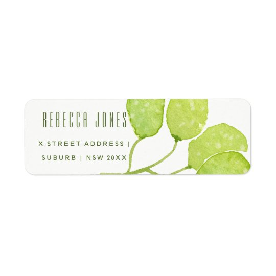 TROPICAL GREEN WATERCOLOUR FOLIAGE LEAF  MONOGRAM RETURN ADDRESS LABEL