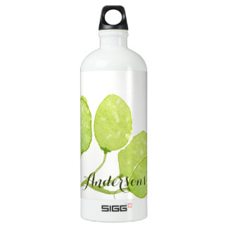 TROPICAL GREEN WATERCOLOUR FOLIAGE LEAF  MONOGRAM SIGG TRAVELLER 1.0L WATER BOTTLE