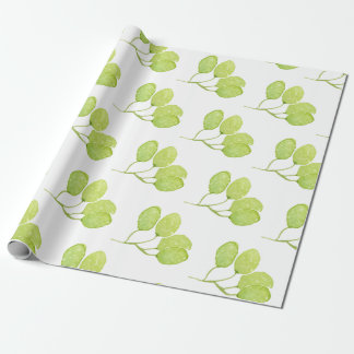 TROPICAL GREEN WATERCOLOUR FOLIAGE LEAF WRAPPING PAPER