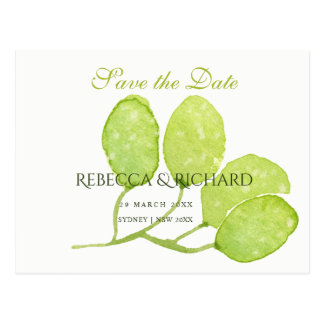 TROPICAL GREEN WATERCOLOUR FOLIAGE  Save the date Postcard