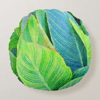 Tropical Greenery Watercolor Design Round Cushion