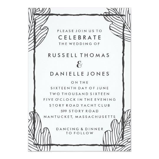 Tropical Grey Leaf Modern Wedding Invitation