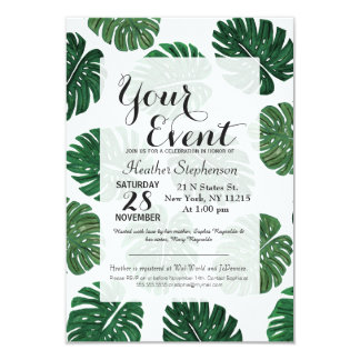 Tropical Hand Painted Swiss Cheese Plant Leaves 9 Cm X 13 Cm Invitation Card