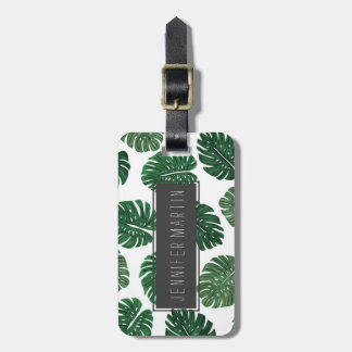 Tropical Hand Painted Swiss Cheese Plant Leaves Bag Tag