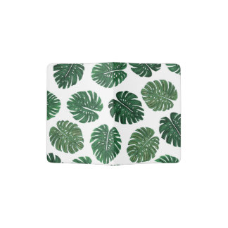 Tropical Hand Painted Swiss Cheese Plant Leaves Passport Holder