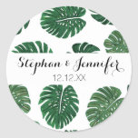 Tropical Hand Painted Swiss Cheese Plant Leaves Round Sticker