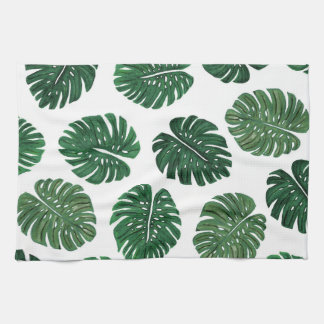 Tropical Hand Painted Swiss Cheese Plant Leaves Tea Towel