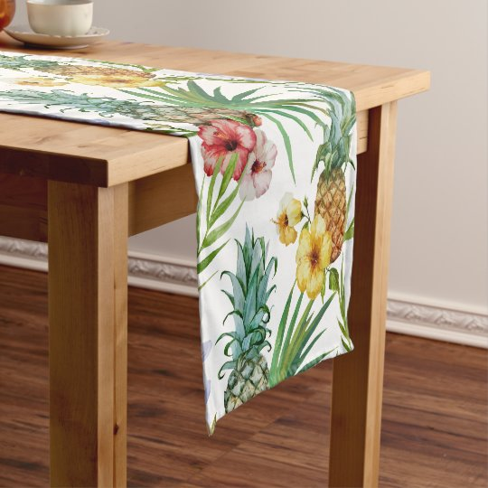 Tropical hawaii theme watercolor pineapple pattern short table runner