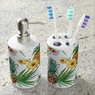Tropical hawaii theme watercolor pineapple pattern soap dispenser and toothbrush holder