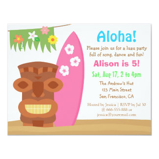 Tropical Hawaii Tiki Luau Beach Birthday Party 11 Cm X 14 Cm Invitation Card