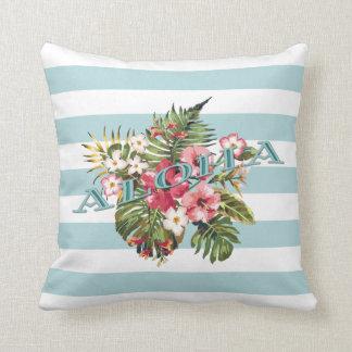 Tropical Hawaiian Aloha Floral & Aqua Stripe Cushion