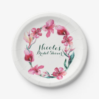 Tropical Hawaiian Flowers Elegant Wedding Party Paper Plate