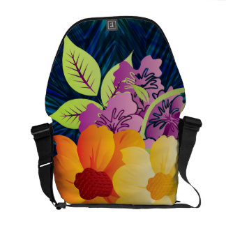 Tropical Hawaiian Flowers & Entwining Vines Messenger Bags