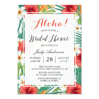 Tropical Hawaiian Hibiscus Aloha Bridal Shower 13 Cm X 18 Cm Invitation Card