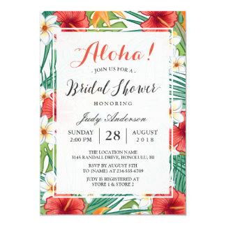 Tropical Hawaiian Hibiscus Aloha Bridal Shower 13 Cm X 18 Cm Invitation Card