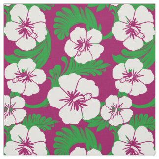 Tropical Hawaiian Hibiscus Floral Magenta Pink Fabric