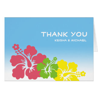 Tropical Hawaiian hibiscus flower thank you note Card
