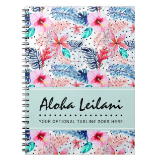 Tropical Hawaiian Hibiscus & Palm Leaf Watercolor Spiral Notebook