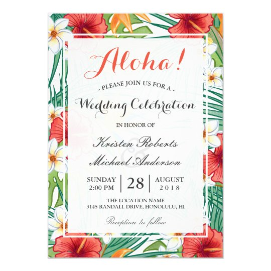Tropical Hawaiian Hibiscus Wedding Celebration Card