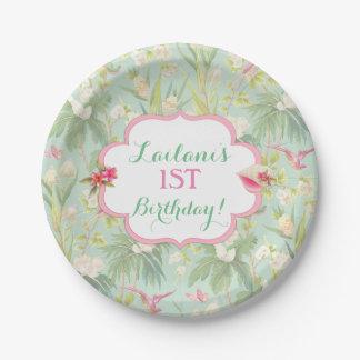 Tropical Hawaiian Luau Hibiscus Flowers Paper Plate