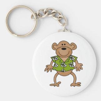 Tropical Hawaiian Monkey Basic Round Button Key Ring