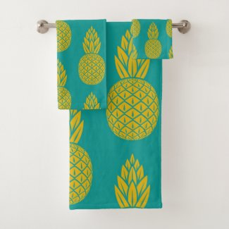 Tropical Hawaiian Pineapple Pattern Bath Towel Set