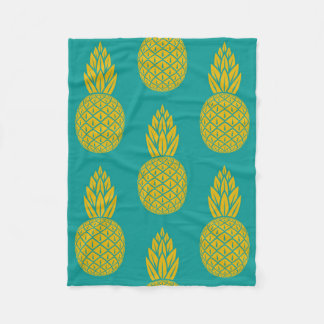 Tropical Hawaiian Pineapple Pattern Fleece Blanket