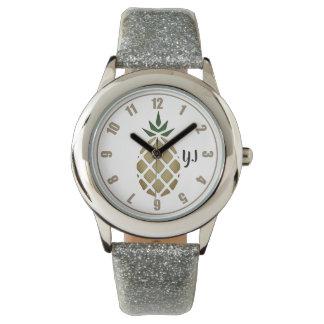 Tropical Hawaiian Pineapple Stencil (Personalized) Watch