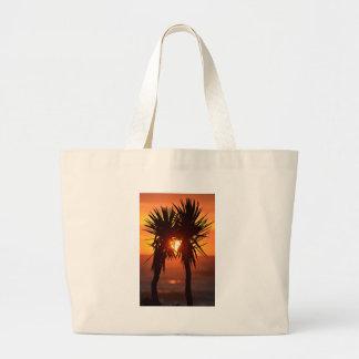 Tropical Hawaiian Sunset Palm Trees Silhouette Jumbo Tote Bag