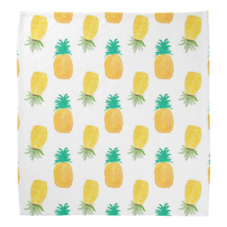 Tropical Hawaiian Watercolor Pineapple Patterned Bandana
