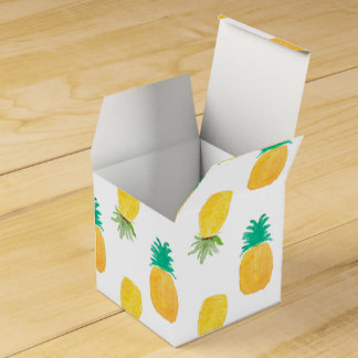 Tropical Hawaiian Watercolor Pineapple Patterned Favour Box