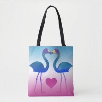 """Tropical Heart Flamingos"" Tote Bag (Blue-Pink)"