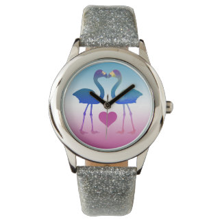 """Tropical Heart Flamingos"" Wrist Watch (Blue-Pink)"