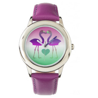 """Tropical Heart Flamingos"" Wrist Watch (PinkGreen)"