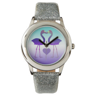 """Tropical Heart Flamingos"" Wrist Watch (PurpleVlt)"