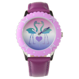 """Tropical Heart Flamingos"" Wrist Watch (TealPurp)"