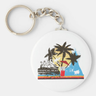 tropical heat design basic round button key ring