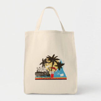tropical heat design grocery tote bag