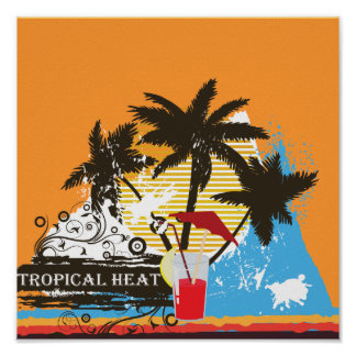 tropical heat design poster
