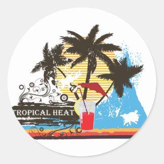 tropical heat design round sticker