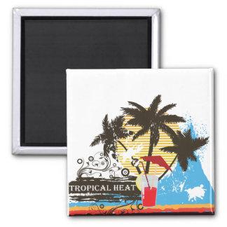 tropical heat design square magnet
