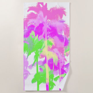 Tropical Heat Wave Neon Hawaiian Palm Trees -White Beach Towel