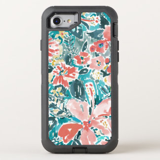Tropical Hello Hibiscus Watercolor Floral Pattern OtterBox Defender iPhone 8/7 Case
