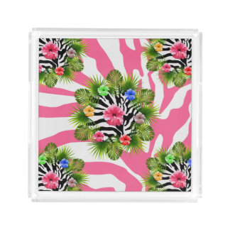 Tropical hibiscus and exotic pink zebra stripes acrylic tray