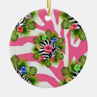 Tropical hibiscus and exotic pink zebra stripes christmas ornament