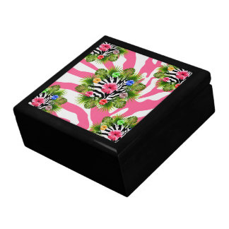 Tropical hibiscus and exotic pink zebra stripes gift box