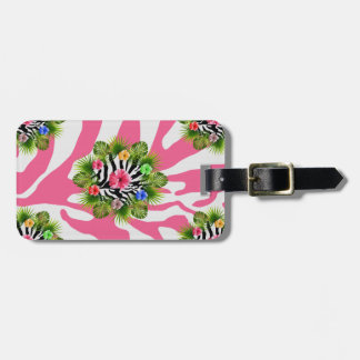 Tropical hibiscus and exotic pink zebra stripes luggage tag