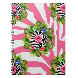 Tropical hibiscus and exotic pink zebra stripes notebook