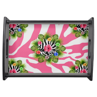Tropical hibiscus and exotic pink zebra stripes serving tray